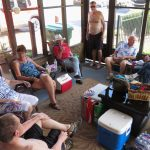 refreshments on the deck, food almost ready just inside . . .with Brigitta Snider, Judy Fike,  and Bob Snider
