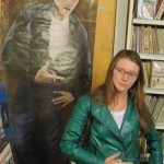 Erica does her best James Dean — with Erica Faunce at James Dean Gallery.