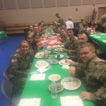 There are a couple of perks that come with this job.  One: we were fed an excellent Christmas luncheon buffet, and two: we had the privilege of sharing lunch with local active duty members of the Guard, and other military, who were invited to join us.